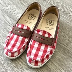 COLE HAAN Pinch Weekender Red Gingham Check Loafer
